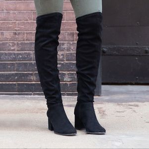 Christian Siriano Knee Boots suede Black size 8.5W